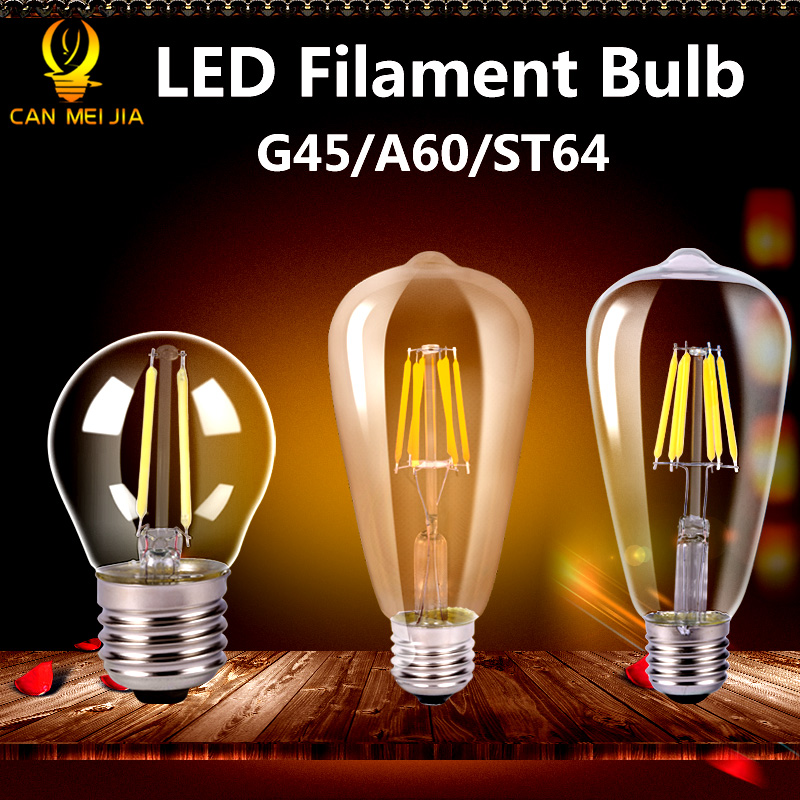 Retro Vintage Edison Bulb Led Lamp E27 LED Filament Glass Light Bulb 220V E27 Energy Saving Lamps Light 2W 4W 6W 8W 220V ST64 led crystal stage light for disco party club bar dj ball bulb multi changing color rose lantern
