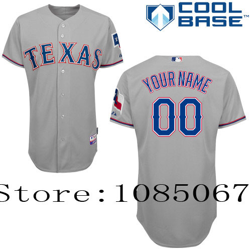 factory price 9d66c db95b Free Texas Rangers Authentic Personalized Jersey White Gray ...