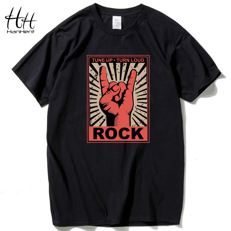 HanHent Rock and Roll Men Music   T     Shirts   Cotton Short sleeve O-neck   T     Shirt   Streetwear Hip hop Punk Men Swag   T  -  shirt   Summer