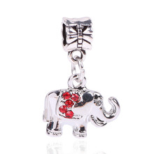 Tibetan Silver Lucky Elephant Animal Charm Necklace Pendant Free Shipping 2016 Women Beads Jewelry Fit Pandora Bracelet DIY Gift