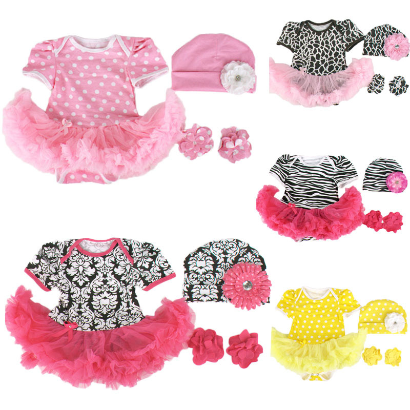 New Baby Girls 3pcs Sets Short Sleeved Tutu Rompers Dres+Cap+Flower Barefoot shoes Bebe Infant Party Princess Costumes Outfits|baby girl|new baby girl|tutu romper - title=