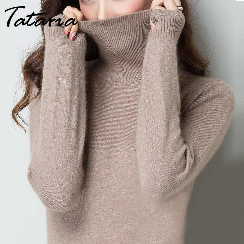 dfbd1265f8a Cashmere women s pullover sweater turtleneck Knitted Long Sleeve Spring  2019 Plus Size turtleneck women sweaters and