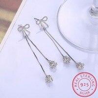 2018 925 Silver Tassels Long Section Ball Drop Earrings For Women Fashion Czech Crystal Sterling Silver
