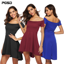 PGSD Spring summer Fashion Simple Women Clothes Pure colour Slash neck collar short-sleeved irregular evening short dress female