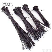 4 значение 200 шт черный нейлоновый кабель провода на молнии кабельные стяжки