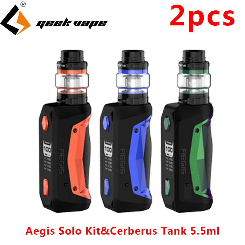 2pcs Geekvape Aegis Solo Kit Vape Electronic Cigarette Mod with 5 5ml Cerberus Tank atomizer 18650