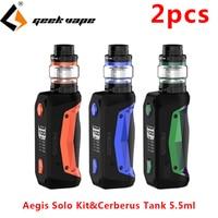 2pcs Geekvape Aegis Solo Kit Vape Electronic Cigarette Mod with 5.5ml Cerberus Tank atomizer 18650 E Cigarette Vaporizer Kit