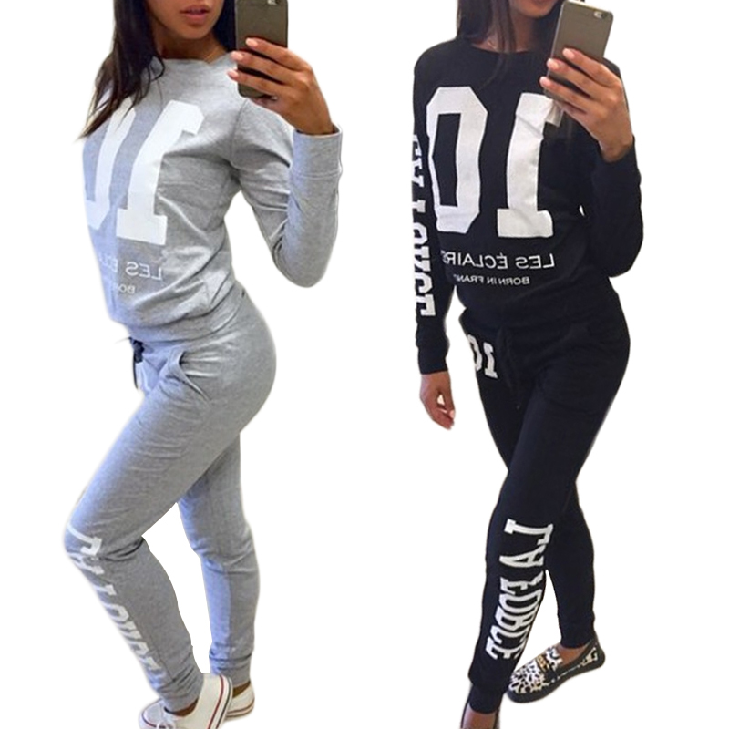 2016 autumn winter fashion 2 piece set tracksuit for women pant and sweatsuits 10 printed gray Mla winter style fashion set
