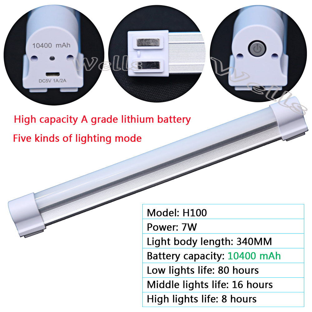 High quality 7W Rechargeable LED Tube Wireless multi-function Emergency lights for Indoor /led camping lamp