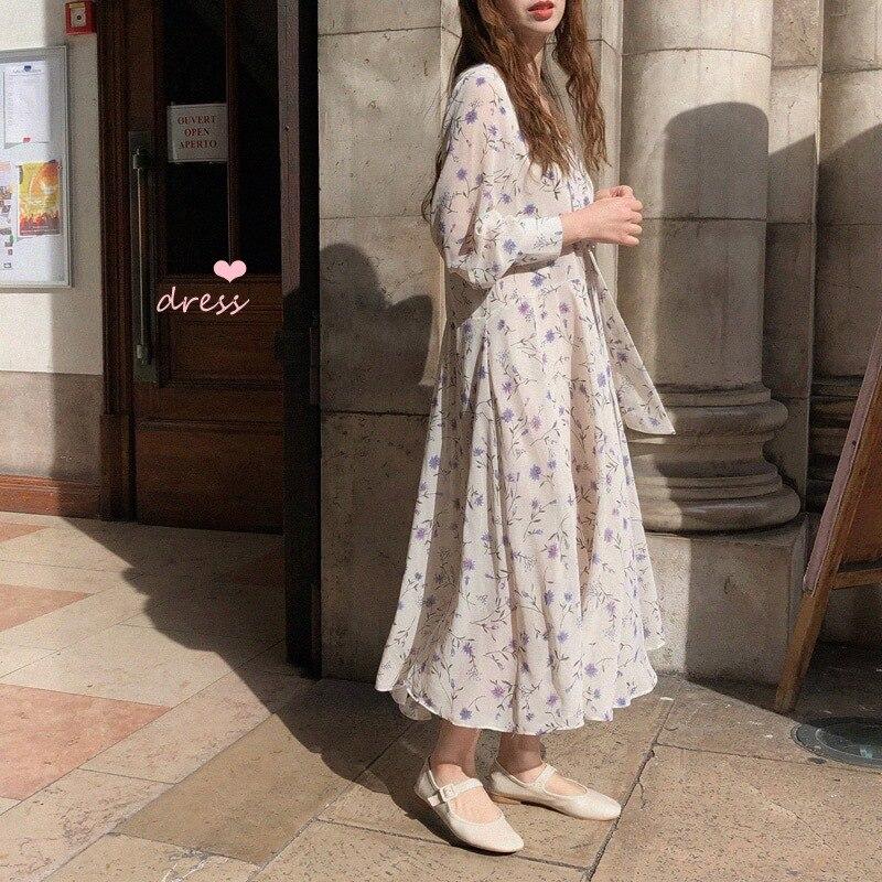 Femmes Col Imprimer D'été À V Gruiiceen Floral Robe De Soie Beige Casual Mousseline 2018 Manches Longues Longue nwYwc4pq8