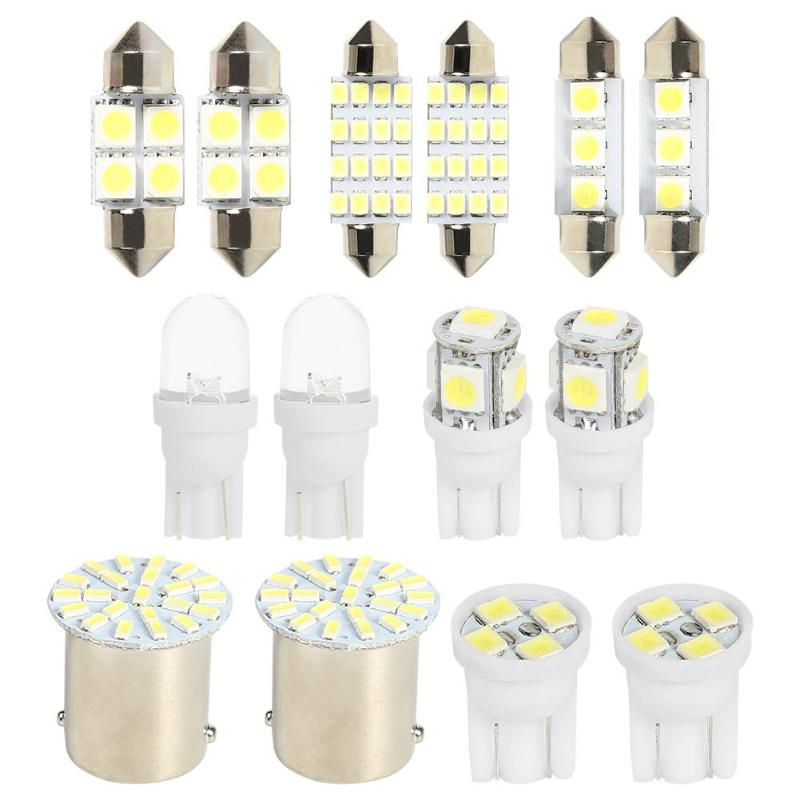 14Pcs LED Interior Package Kit For T10 36mm Map Dome License Plate Lights  For Car/motorcycle Clearance Light