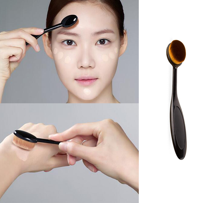 Pro Oval Women Face Powder Foundation Eye Shadow Blusher Soft Toothbrush Shape Curve Brushes Foundation Cosmetic Makeup Tools2 new arrive makeup brush face powder blusher toothbrush foundation oval brushes cosmetic tool