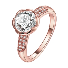 MEGREZEN Rose Flower Ring Pink Gold Color With White Cubic Zirconia Stones Luxury Engagement Rings For Women R165-5