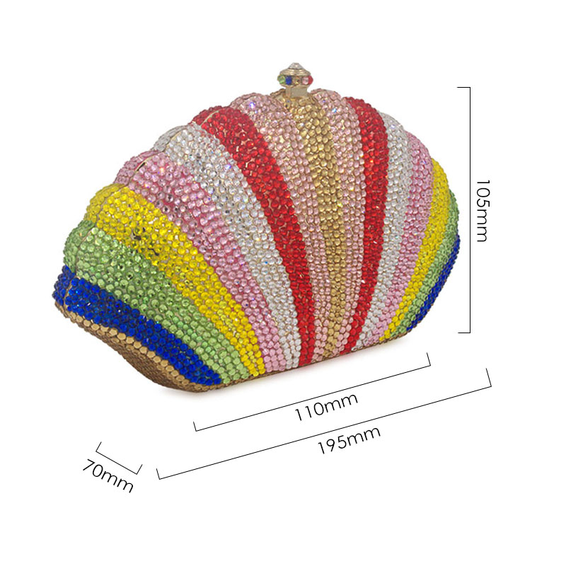 US $69.36 49% OFF|Stylish Shell Rainbow Crystal Full Diamond Woemn Evening Bags Ladies Day Clutches Rhinestone Clutch Banquet Clutch Bag|Top Handle