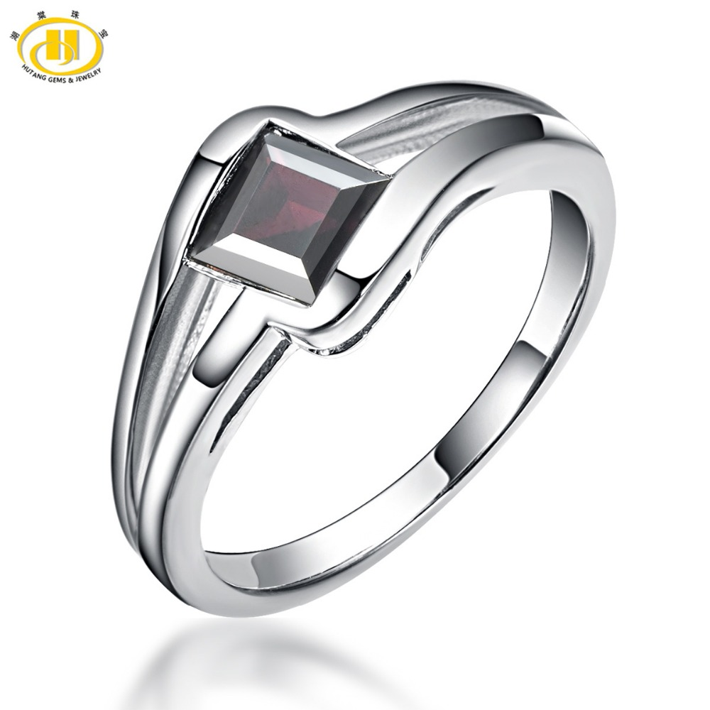 HUTANG Romantic Natural Black Garnet Solid Rings 925 Sterling Silver Ring Gemstone Fine Jewelry For Women's Birthday Rings Gift