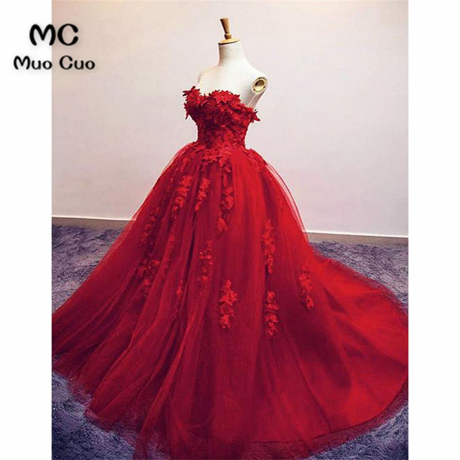 2018 Ball Gown   Prom     dresses   Long with Flowers Appliques   dress   for graduation Tulle Formal Evening Party   Dress   for Women
