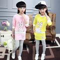 Children Girls clothing set autumn teenage girls sport suit cartoon rabbit pantskirt kids clothes tracksuit 4~13 T girls clothes