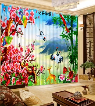 Chinese Luxury Curtains 3D Window Curtain For Hotel Home Wall Decor Flower Crane Drapes Custom Nature Scenery Drapes Cortinas