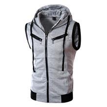 Для мужчин жилет с капюшоном 2018 модный бренд мужской куртка без рукавов карман на молнии повседневное хлопок