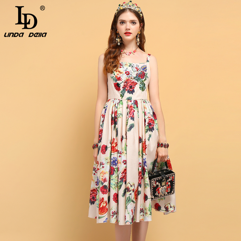 LD LINDA DELLA Summer Fashion Designer Dress Women s Spaghetti Strap Crystal Beading Floral Print Backless
