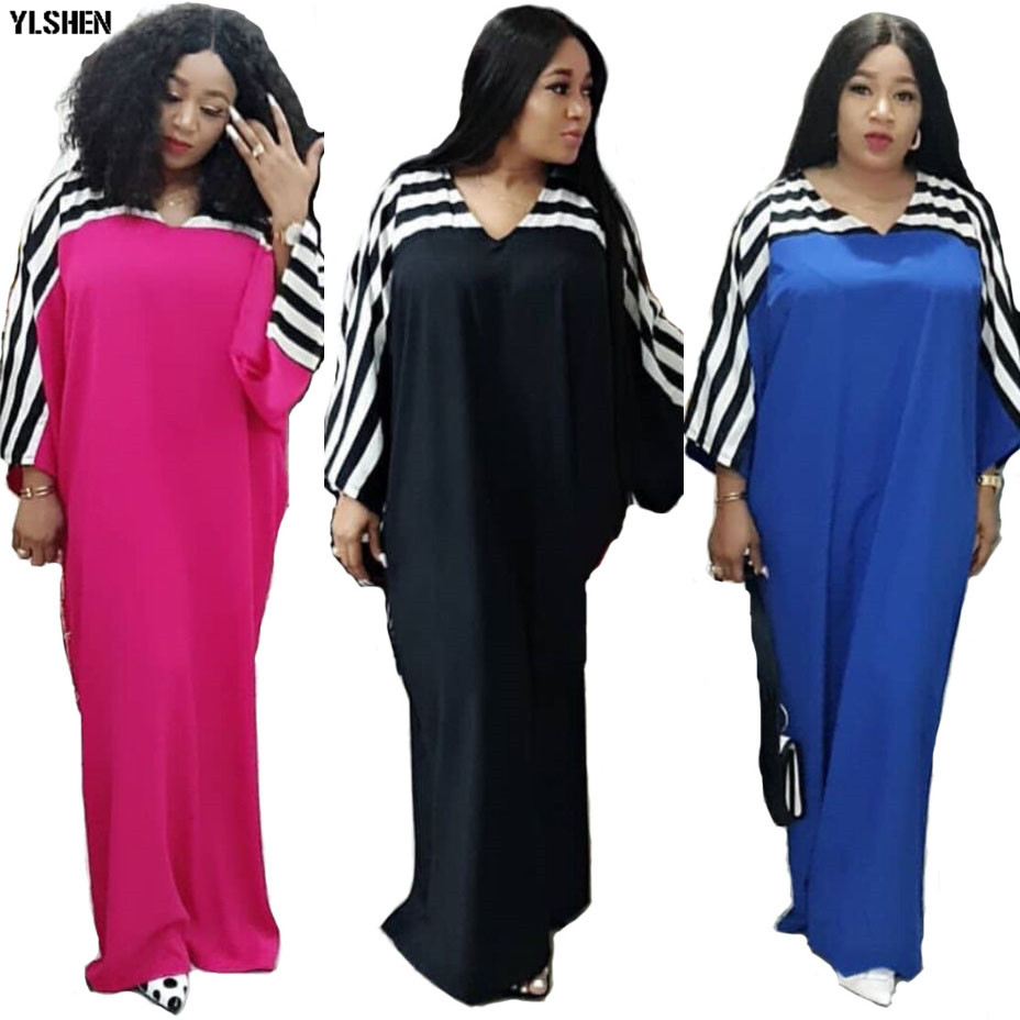 Super Size African Dresses for Women Dashiki Stripe African Clothes New Bazin Riche Sexy V-neck Long Africa Dress Woman Clothing 01