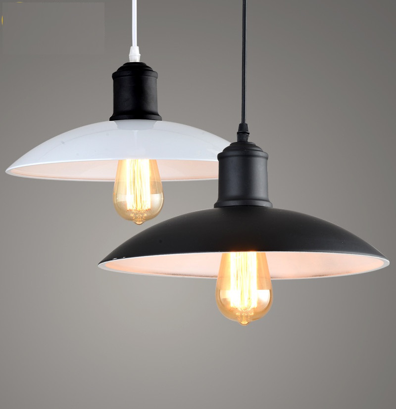 IWHD Vintage Industrial Lighting Retro Iron Lid Pendant Light White Black Hanging Lamp American Aisle Lights Edison Bulb Lamp american art creative retro vintage pendant lights spring iron hanging pendant lamp indoor iron black pendant lamp light