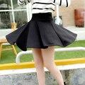 Sexy Faldas Para Mujer 2016 de La Moda Otoño Invierno Mini Falda Más El Tamaño XL Cintura Alta Falda Plisada Negro Tenis Skater Falda Para Las Mujeres