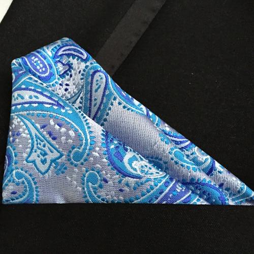 Luxury Pocket Square TOP Quality Woven Handkerchief Designer Blue Paisley Handkerchief