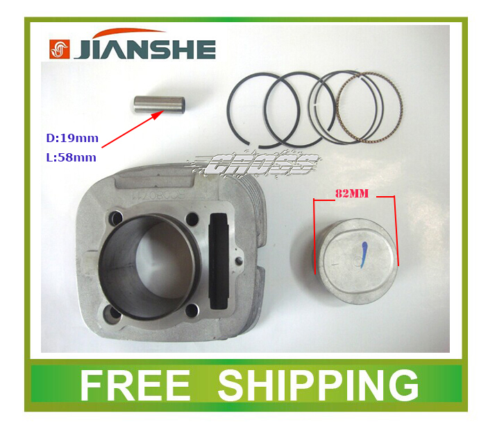 JIANSHE 400cc ATV CYLINDER HEAD block 82mm piston ring pin set accessories free shipping