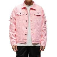 Red White Black Pink Short Length Ripped Denim Jackets Men Fashion Casual Cotton Jean Coats Hip Hop Streetwear 4XL 5XL