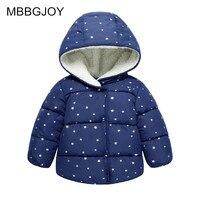 MBBGJOY Baby Girls Boys Winter Coat Hooded 2017 New Windproof Polka Stars Dot Cotton Jacket Plus Velvet Kids Toddler Ourterwear