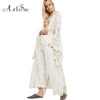 ArtSu Boho Women Solid Lace Long Dress Sexy Transparant Cardigan Beach Party Maxi Dresses Elegant Robes Vestidos Mujer ASDR30263