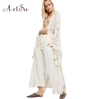 ArtSu Boho Women Solid Lace Long Dress Sexy Transparant Cardigan Beach Party Maxi Dresses Elegant Robes