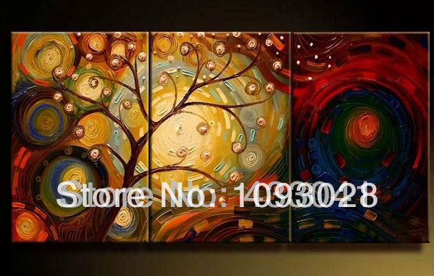 Hand Painted 3 Piece Set Modern Abstract Colorful Gustav Klimt Tree Of Life Oil Painting On Canvas Wall Art Home Decor For Sale