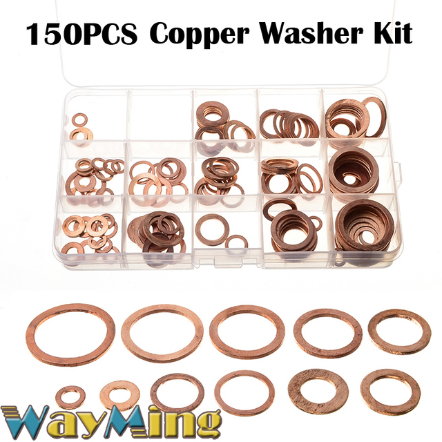 150PCS Washer 15 types Set Metric Assorted Solid Copper Crush Ring ...
