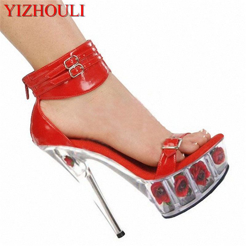 Office & School Supplies Systematic The Bottom Of The Roses 15 Cm High-heeled Sandals Nightclub Dance Shoes Pole Dancing Shoes Model High Heels Womens Shoes To Reduce Body Weight And Prolong Life