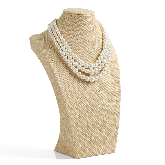 T27-1 Nice Neck Form Presention Jewelry display  Bust Model Rack Pendant Holder Necklace Stand with Jute Material