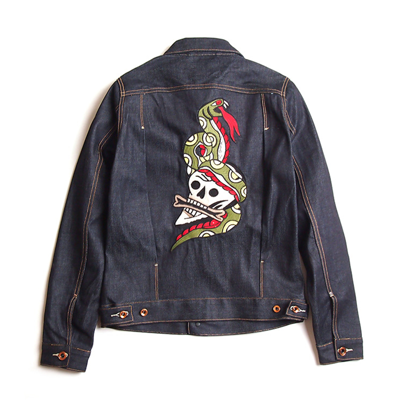Embroidered jean jacket mens vicmora