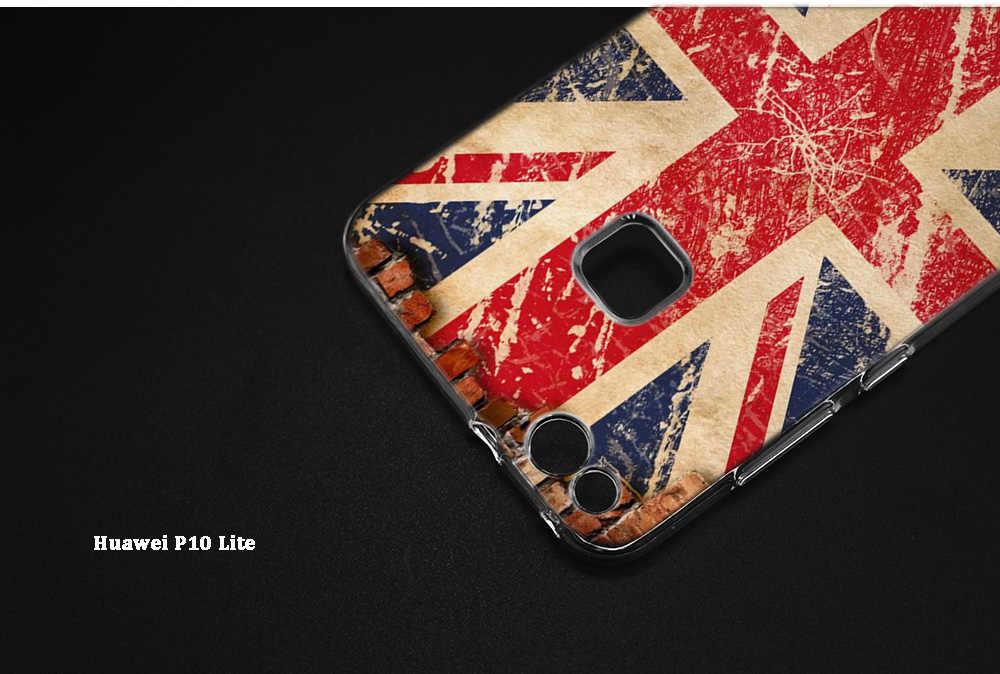 旗イギリスロンドンプリントシリコーン Huawei 社の 1080p スマートプラス 2019 1080p スマート Z Mate20 Mate10 Lite プロ 9 S 9E