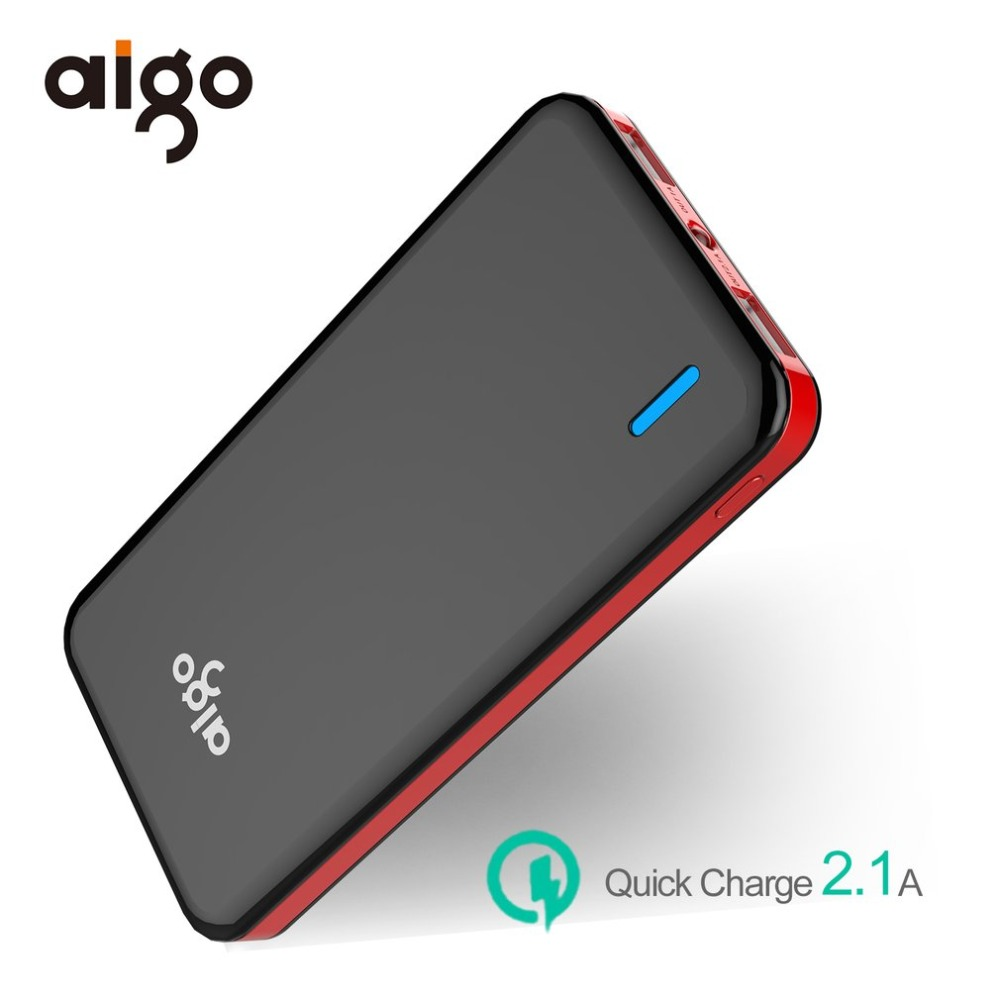 Aigo 10000mAh Polymer Power Bank Dual USB LED Powerbank Mobile Phone Portable External Battery Charger For iPhone X 8 7 6 Plus