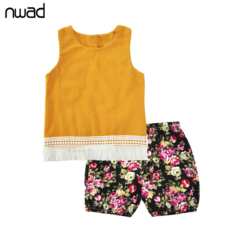 NWAD Tassel Baby Girls Clothing Suit Summer Clothes Sets For Newborn Baby Set Sleeveless Tops + Flower Print Short Pants FF359