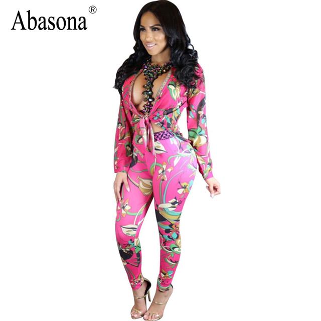 Abasona Profunda v envoltório pescoço top bodycon jumpsuit romper Outono festa tropical mulheres jumpsuit 2017 moda Casual macacão de fitness