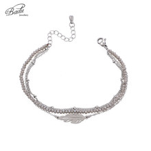 Badu 3 Layered Chain Bracelet for Women Stainless Steel Leaf Pendant Bracelets Crystal Beads Delicate Party Jewelry Wholesale
