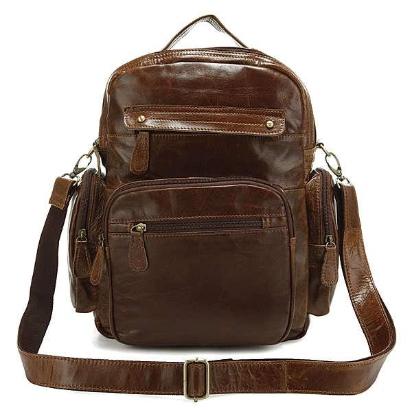 J.M.D sacs à dos Vintage unisexe en cuir véritable pour sac d'école d'étudiant 2751B-1