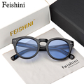 FEISHINI Fashion Style Unique Trend UV400 Oliver Peoples Transparent Colored Women Round Sunglasses Men Retro Plastic Ocean 2017