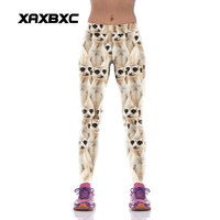 XAXBXC New 1012 Sexy Girl Slim Fit Pencil Pants Cute Animal Mongoose Meerkat Prints Workout Fitness