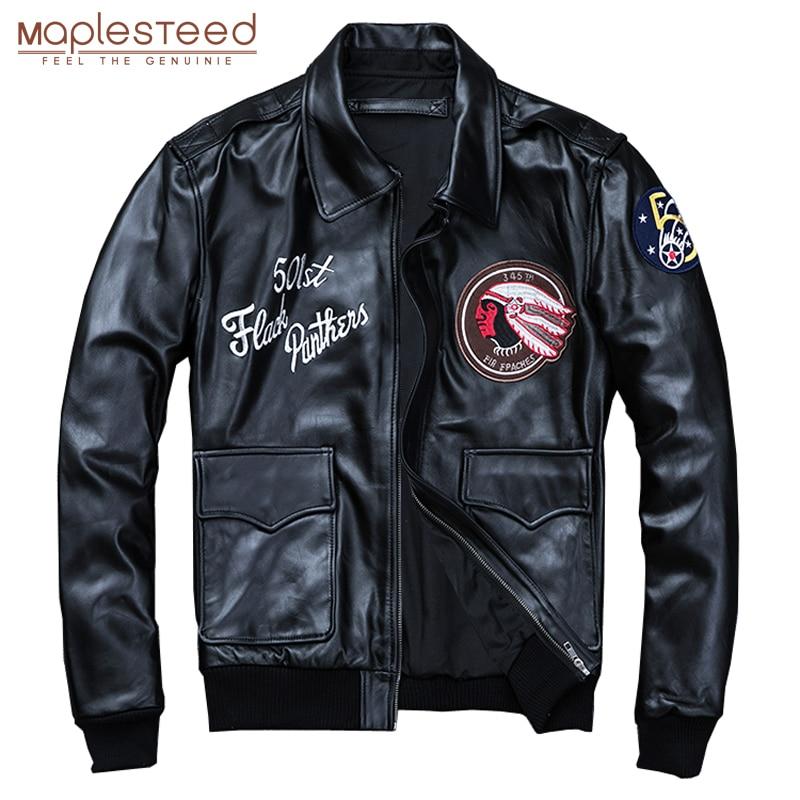 MAPLESTEED Bomber Flight Jacket Men 100% Natural Calf Skin Jacket Soft Air Force Pilot Leather Jackets Men's Coat Autumn M194