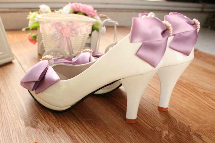 Citron Busur Ungu Bridesmaid Sepatu Platform Sepatu Untuk Gadis Pernikahan Pengantin Sepatu Wanita Heels dengan Harga Murah Wanita Pompa Heels Putih