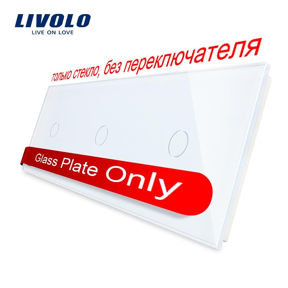 Livolo Cristal de lujo blanco de la perla, 222mm * 80mm, estándar de la UE, Panel de cristal Triple, VL-C7-C1/C1/C1-11 (4 colores)