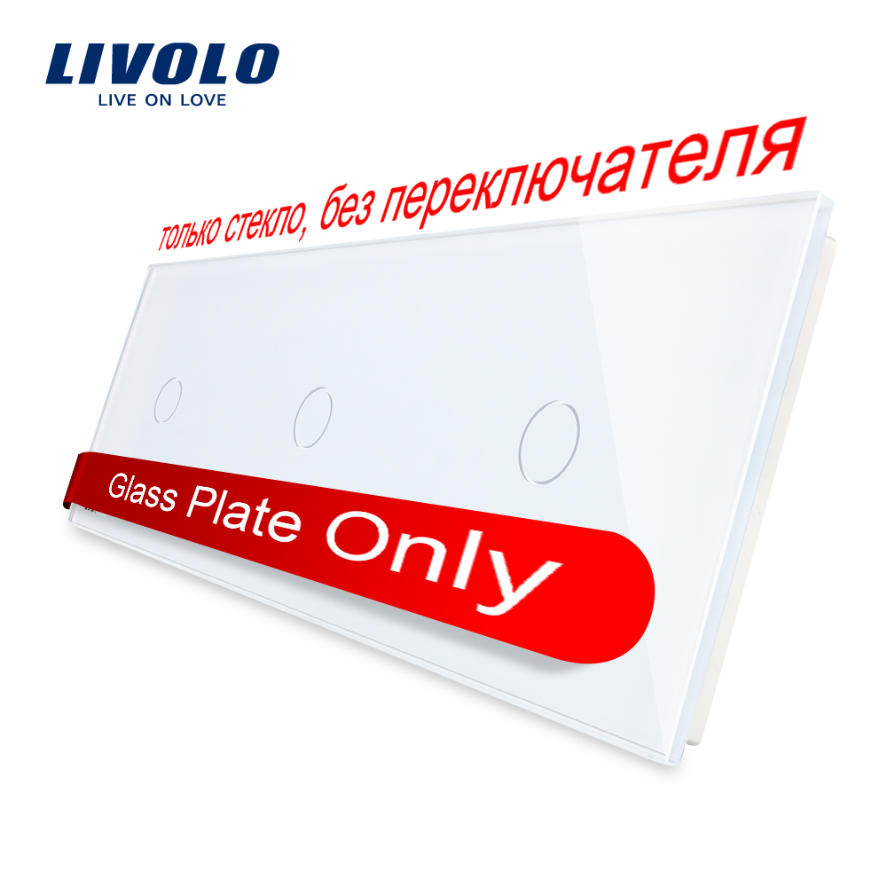 Livolo de lujo blanco de perlas de cristal de vidrio de 222mm * 80mm de la UE estándar de vidrio Triple Panel VL-C7-C1/C1/C1-11 (4 colores)
